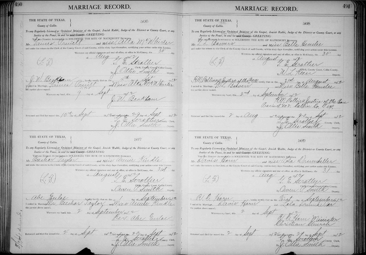 George lemuel bowers 1888 1949 a southern family genealogy copy marriage record of belle henslee and g l bowers in 1912 in collin county texas aiddatafo Gallery