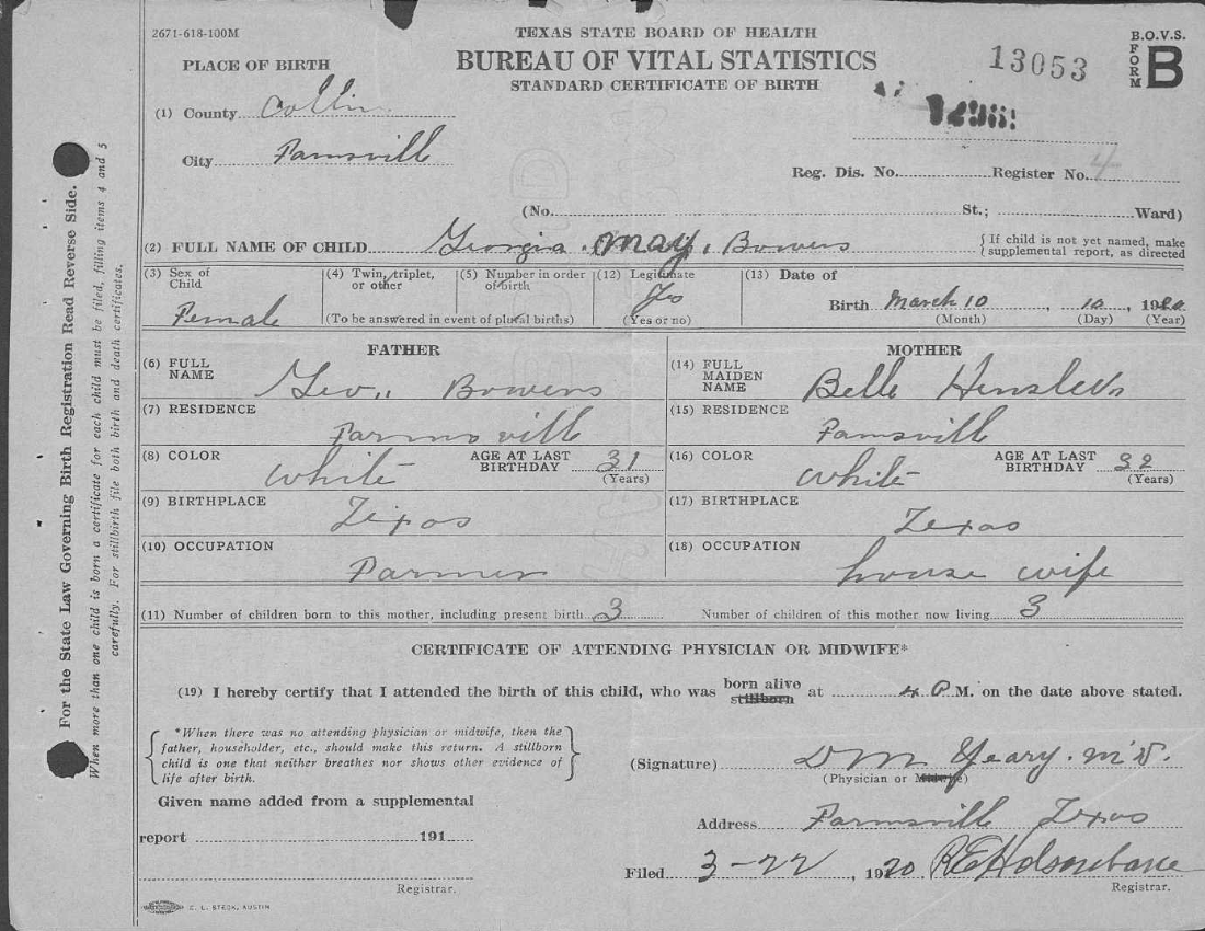 Georgia mae bowers truelove 1920 2003 a southern family genealogy copy 1920 birth certificate of georgia may bowers in farmersville collin county texas aiddatafo Gallery